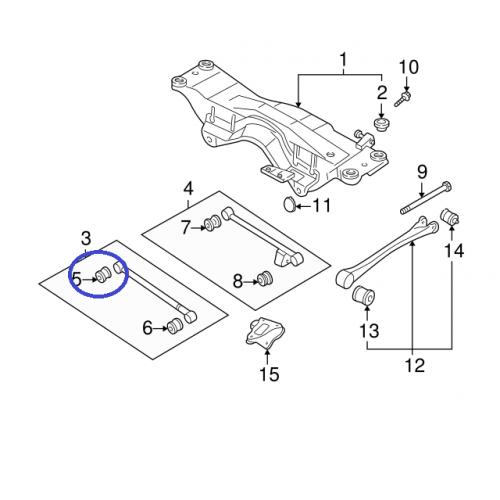 Tuleja tylnego wahacza poprzecznego do Subaru 20251AA050