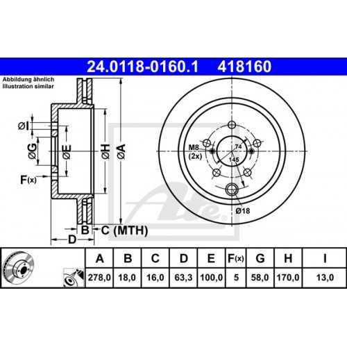 ATE Brake Discs REAR 2pcs for Subaru Forester 2014-2018 XT / 26700SG000