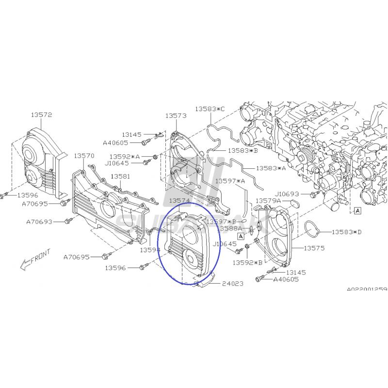 Osłona Paska Rozrządu Przednia Lewa do Subaru Impreza STI / Legacy 2.5GT / 13574AA120