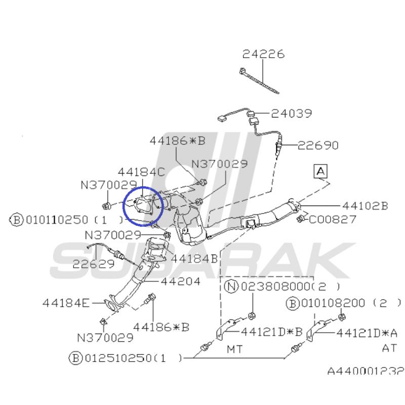 Uszczelka Turbo-downpipe do Subaru GT/ WRX / STI / XT 44022AA180