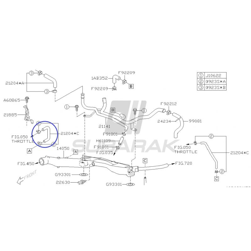 Hose Pre_Heater for Subaru Impreza / Legacy / Baja / Forester / Outback / 21204AA850
