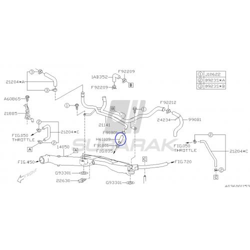 Hose Turbocharger Oil Drain for Subaru Impreza / Legacy / Baja / Forester / Outback / Tribeca / 807611090