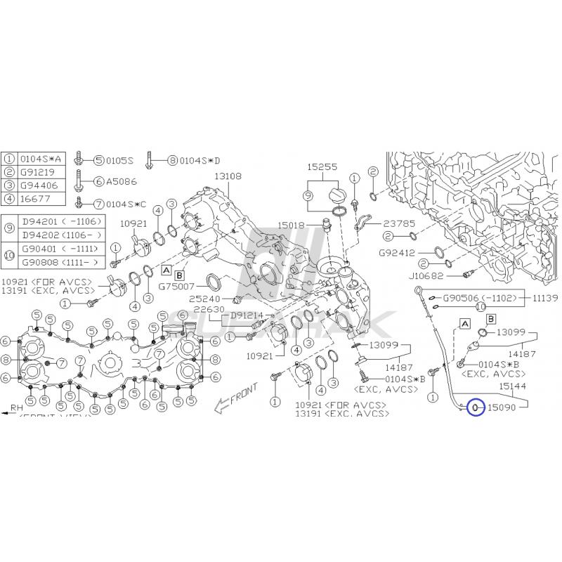 Oring Rurki Miarki Oleju do Subaru z Silnikami Diesel oraz FA/FB / 15090KA000