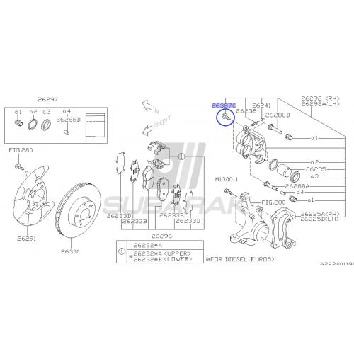 Brake Caliper Bolt for Subaru / 26231FE011