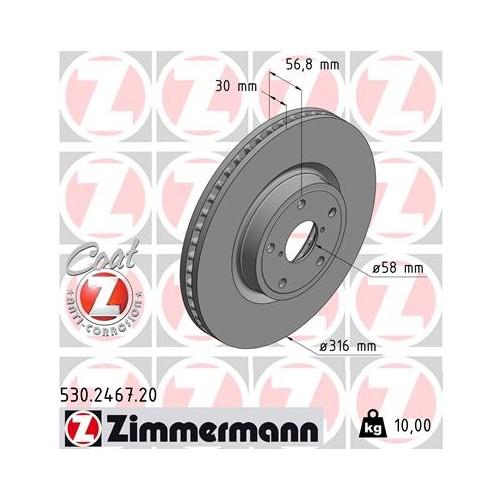 Zimmermann Brake Discs FRONT for Subaru Levorg / Legacy / Outback / 26300AL010