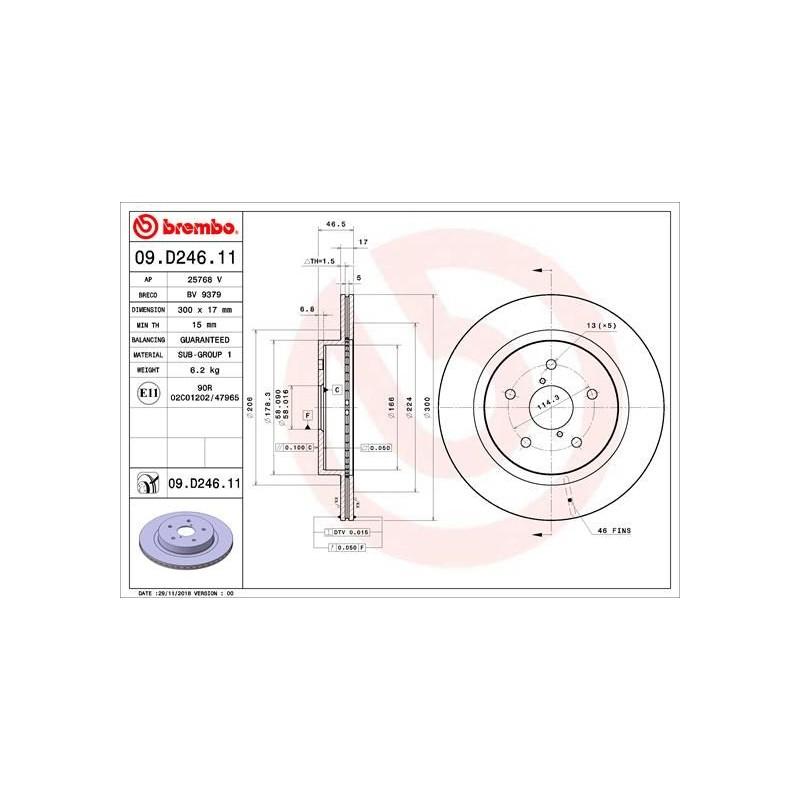Brembo Brake Discs REAR for Subaru Levorg / Legacy / Outback / 26700AL010