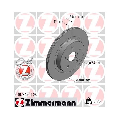 Zimmermann Brake Discs REAR for Subaru Levorg / Legacy / Outback / 26700AL010