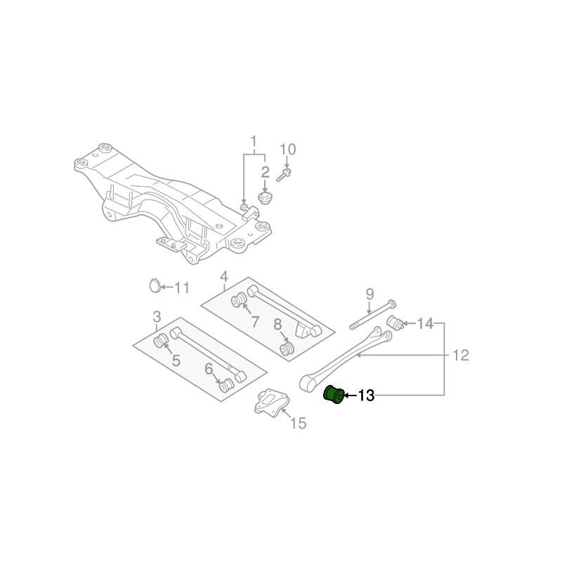 Przednia tuleja tylnego wahacza wzdłużnego do Subaru 20271AA040