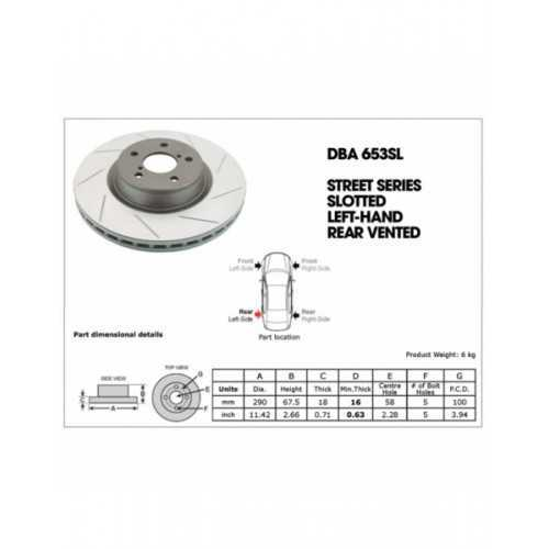 DBA Street T2 290mm Brake Discs fit Subaru Impreza /Legacy REAR