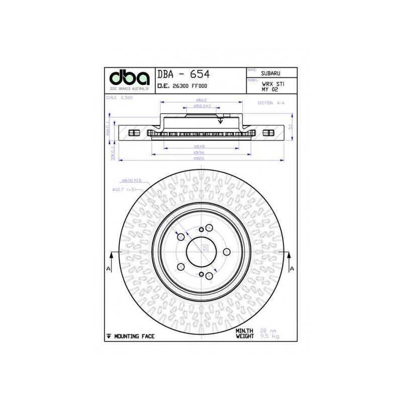 Tarcze hamulcowe DBA 4000 T3 326mm do Subaru Impreza STI (przód)