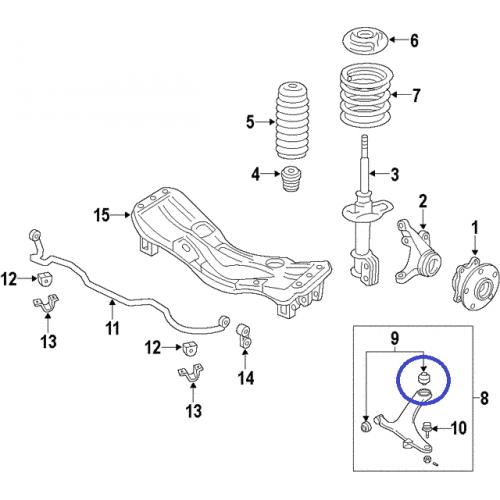 Tylna tuleja przedniego wahacza do Subaru Legacy / Outback / Impreza / Forester / XV 20204AG011