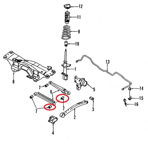 Zewnętrzna tuleja tylnego wahacza poprzecznego do Subaru 20251AA040